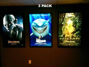 3-Pack Custom Premium 27x40 LED Light Box Movie Poster Display Frames
