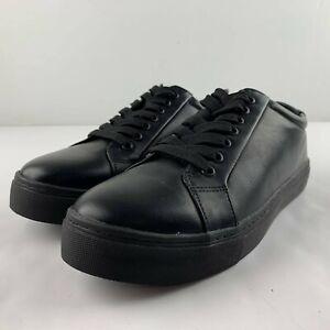 Nautica Prestwick Men US 9.5 Black Faux Leather Sneaker Low Top Casual Shoe