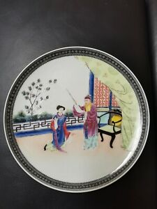 antique chinese republic famille rose plate with rare mark