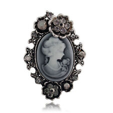 Vintage Flower Beauty Cameo Gray Women Wedding Bradal Crystal Jewelry Brooch Pin
