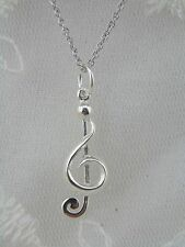 Silver Treble Clef / Music Note Pendant Necklace 925 Sterling Silver New