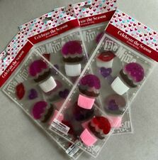 Set Of 4 Cupcakes , Kiss & Hearts Window Gel Cling(1 Sheet with 14 Clings)