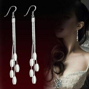 Silver Plated Drops Long Tassels Hook Dangle Earrings 757