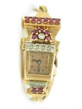 Vintage 14k Solid Rose Gold Diamond & Ruby Art Deco Ladies Estate Wrist Watch