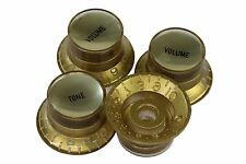 Bell Hat Knobs Gold w/ Smooth Gold Reflectors US Fine Spine fits CTS pots