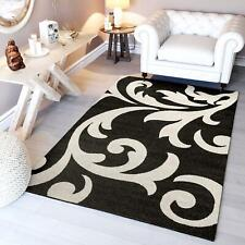 Super Area Rugs Contemporary Floral Modern Damask Area Rug in Dark Grey & White