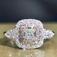 Certified 3.00 CT Cushion Diamond Engagement Wedding Ring in 14K White Gold Over