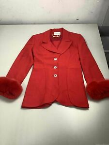 Women's Vintage Lily & Taylor Fox Fur Pant Suit Set Size 8, Made in USA