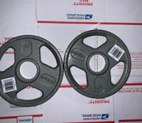 "5 Lb Weider Olympic Plates Set Of 2 (10 Lbs Total Weight) Barbell 2"" Hole Pair"
