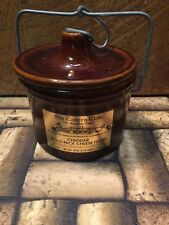 Vintage  Large Old Tavern Club Brown Stoneware Cheese Crock w/ Wire Bail Lid