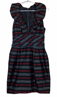Cue Womens Black/Maroon Striped Sleeveless Lined A-Line Dress Size 8