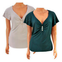 Womens Ladies V-neck Casual Top Teal Silver Sequin Short Sleeve Blouse T-shirt