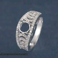 6MM ROUND CUT SOLID 14K WHITE GOLD NATURAL DIAMOND SEMI MOUNT SETTING RING