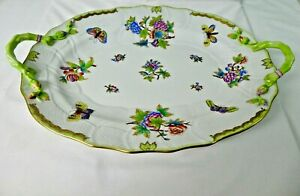 """HEREND HUNGARY QUEEN VICTORIA 7727/VBO  OVAL SERVING PLATTER TRAY W/HANDLES 18"""""""