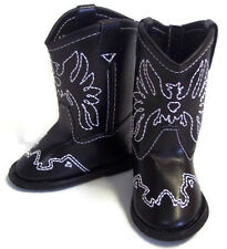 """Black w/Eagle Accent Cowboy Boot Shoes made for 18"""" American Girl Doll Clothes"""
