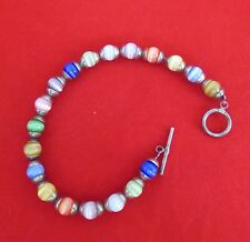 Sterling & Multi Colored Glass Beads Bracelet (1239)