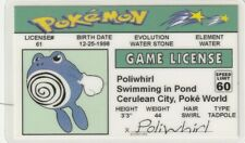 Poliwhirl  POKEMON plastic collector id card Drivers License Cerulean City Poke