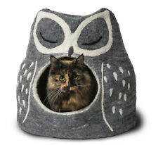 New w/o Tags: DHARMA DOG KARMA CAT 100% Wool Felted Grey Owl Cave Bed, List $90