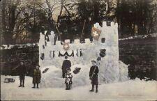 Le Chaux de Fonds - Kids Make Huge Snow Fort c1910 Postcard - Switzerland?