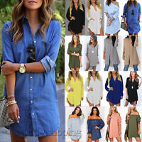 Fashion Women's Long Sleeve Casual Blouse Ladies Loose T Shirt Tops Mini Dress