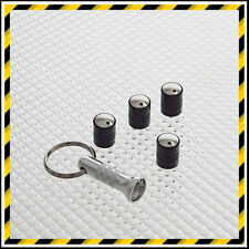 BLACK RICHBROOK SPINNING ANTI-THEFT CAR TYRE VALVE DUST CAPS