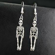 "SKELETON EARRINGS 2.4"" Halloween Skull Drop Dangle Stainless Steel Ear Wires NEW"