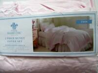 Simply Shabby PINK White EMBROIDERED Border 2 pc Twin DUVET Cover & SHAM SET