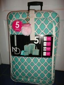TURQUOISE 5 PC SOFT SIDE LUGGAGE SET 26 IN 21 IN SPINNERS & MORE NWT GIFT! RARE
