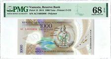 Vanuatu 1.000 Vatu P13 2014 PMG 68 EPQ s/n AC14693896 Polymer