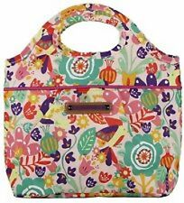LILY BLOOM INSULATED TOTE LUNCH BAG COOLER TULIP BIRDS FLOWERS PURSE CINCH LINER
