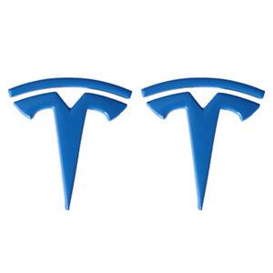 2x Blue Tesla Logo Car LH&RH Fender Emblem Nameplates for Model 3 X Y S Roadster