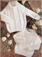 """Baby Aran Cardigan and Sweater Knitting Pattern Boys Girls Raglan 16-22"""" 1127"""
