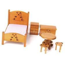 Dolls House Miniature Teddy Nursery Bed Room Furniture Set Chest of Drawer