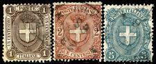 Regno 1896/97 Stemma di Savoia S9 n. 65/67 usati (m074)