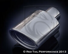 "Oval Exhaust Muffler Tip Resonated rolled 4.75"" X 3.25"" OD 2"" or 2.25"" ID Inlet"