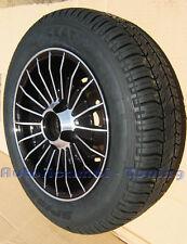 """4 CERCHI RUOTE MONTATE LEGA DA 12"""" FIAT 500 126  98mm GRIFO NERO DIAMANTE"""