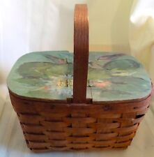 PRIMITIVE Antique BASKET With Hand Painted Bi-Fold Lid Small Picnic