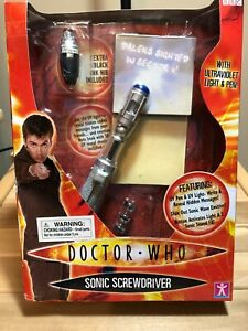 DOCTOR WHO SONIC SCREWDRIVER WITH ULTRAVIOLET LIGHT & PEN 10th DOCTOR 2004 MIB