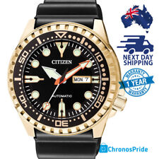 CITIZEN Eco Drive NH8383 NH8383-17E Mens Rubber GOLD Diver Automatic Mens Watch