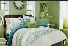 Lorna Embroidered Queen Comforter Blue Green White Geometric **Comforter Only**