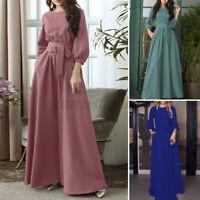ZANZEA 8-24 Women 3/4 Sleeve Belted Long Maxi Dress Party Evening Cocktail Dress