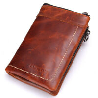Vintage Men Genuine Leather Wallet Money Card Cash Holder Zip Coin Pocket Purse