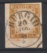 FRANCOBOLLI 1862 SARDEGNA 10 C. BURGIO 20/8 Z/179