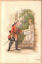 Victorian Trade Card-Edwin C Burt Fine Shoes-NY-Boston, MA-Man w/ Sign for Lady