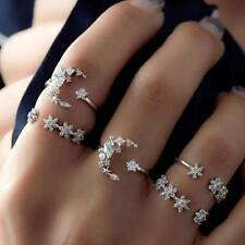 5pcs/set Women Boho Style Crystal Star Moon Ring Silver Engagement Rings Jewelry