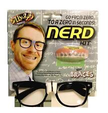 NERD KIT WITH GLASSS  & FAKE BRACES TEETH  bad false hill billy bob costume UGLY