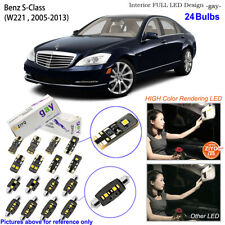 24 Bulbs Deluxe LED Interior Light Kit White For W221 2005-2013 Benz S-Class
