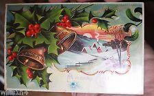 1913 era embossed Christmas greetings postcard holly berries bells snow sunset