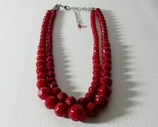 Double Strand Beaded Necklace Deep Crimson Red (1Abo)