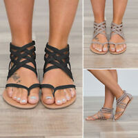 Womens Flats Sandals Gladiator Summer Beach Casual Flip Flops Shoes US Size 5-9